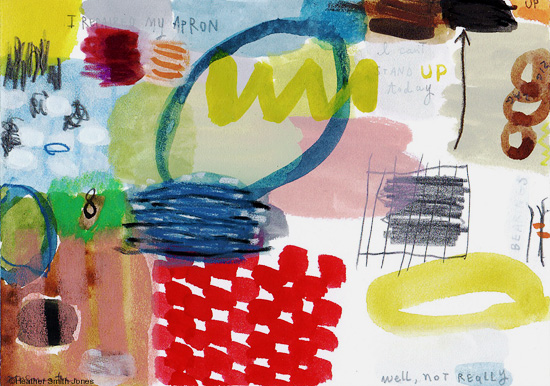Bearings , mixed media on paper, image size 3.5 in. x 5 in., paper size 8 in. x 10 in., 2012