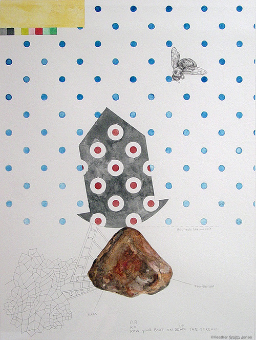 Rock or foundation , graphite, handmade watercolor on paper, 9 in. x 12 in., 2006