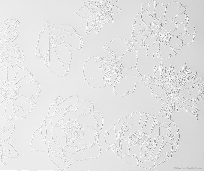 Ten flowers, ten rules, ten spaces , detail, graphite, handmade watercolor, pinholes on paper, 9 in. x 18 in., 2004