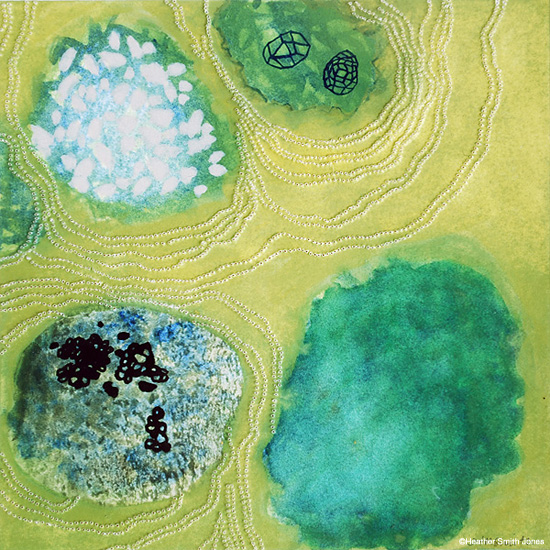 surrounding , handmade watercolor and pinholes on paper, image size 4 in. x 4 in., framed size 14 in. x 14 in., 2004