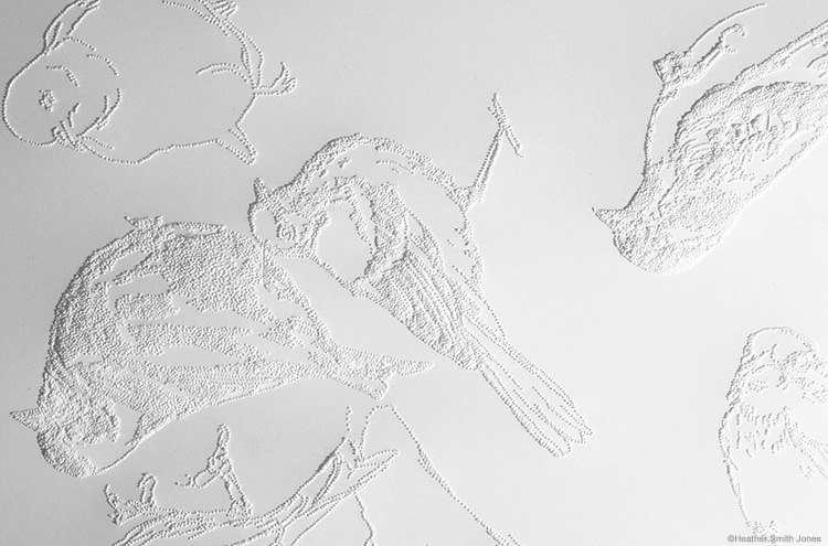 Psalm 19: 19 birds , detail, pinholes on paper, 16 in. x 20 in., 2004 (commission)