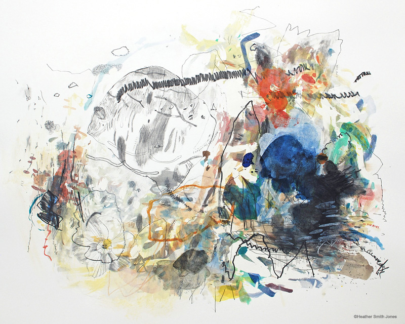 Life Line , mixed media on paper, 20 x 24 in., 2013