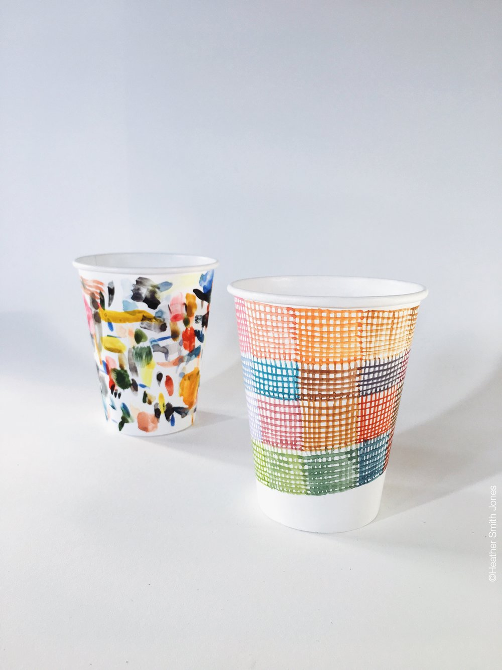 "Two ""warm up"" cups I painted in preparation."