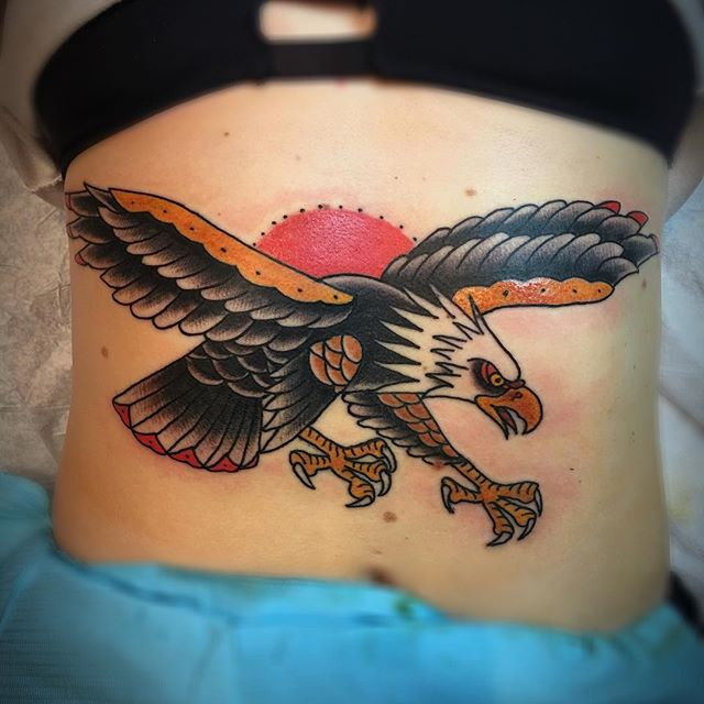 Freedom bird on the stomach. Thanks for sitting like a champ Shelby!! #electriceyedallas  #electriceyeoakcliff