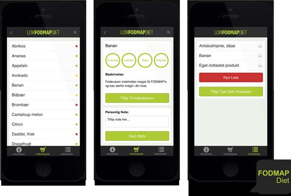 Bogen Low FODMAP Diet nu som app på dansk. Hent den til både iPhone og Android