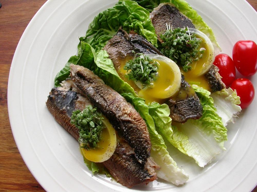 Kippers på sprød salatbund
