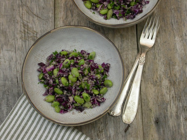 Edamame salat med quinoa og kål