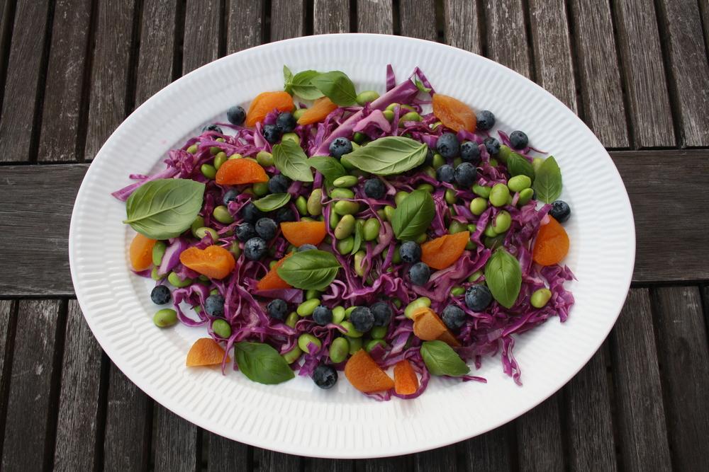 Salat med edamame bønner og rødspidskål