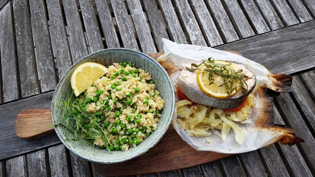 Laskesteak i pakker med fennikel og tomat
