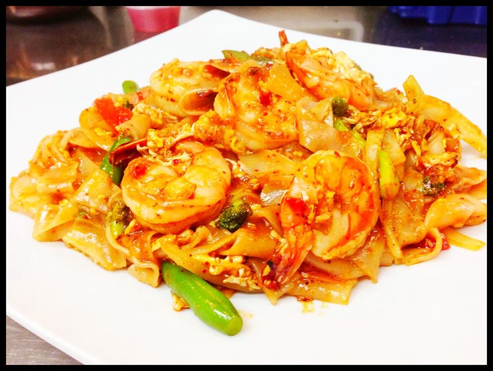 Spicy Basil Noodle Shrimp