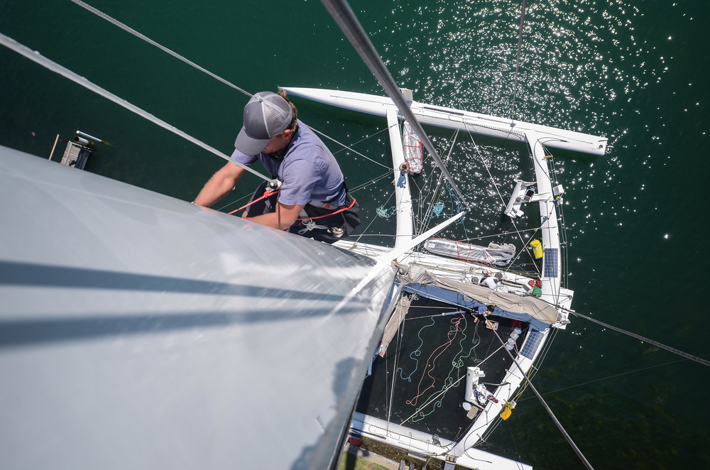 Donny tends to the mast during the shakedown, days prior to the Mackinac Race.