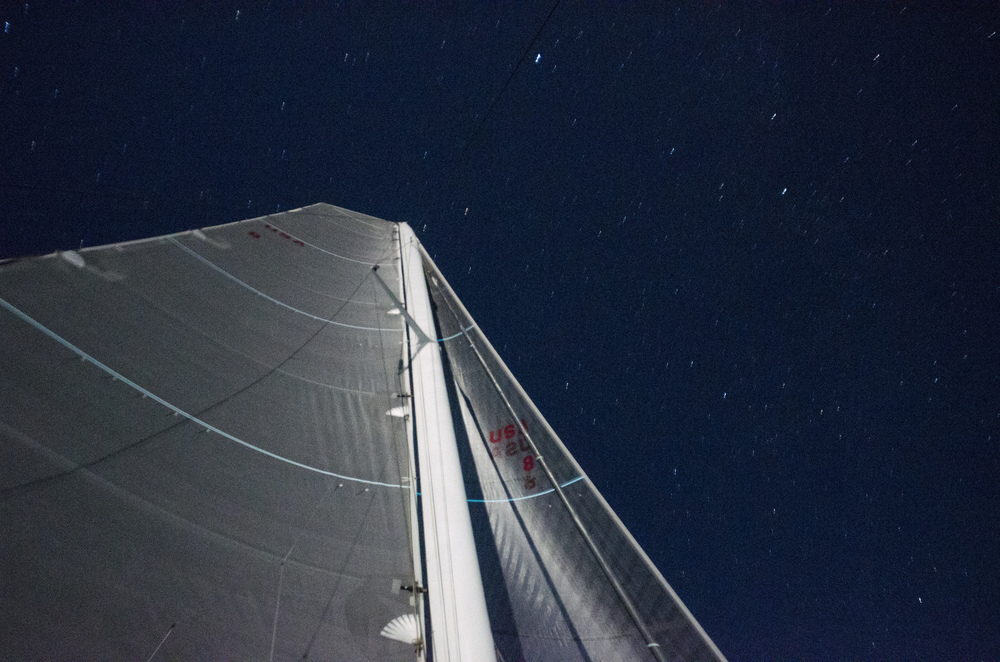 The mast underneath the Lake Huron stars.