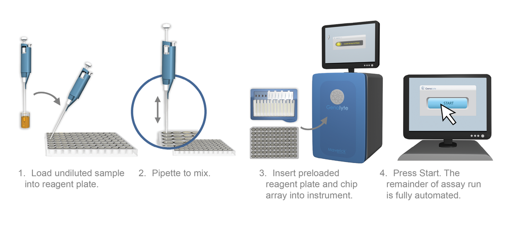 1. Load undiluted sample into reagent plate. 2. Pipette to mix.  3. Insert preloaded reagent plate and chip array into instrument.  4. Press Start. The remainder of assay run is fully automated.