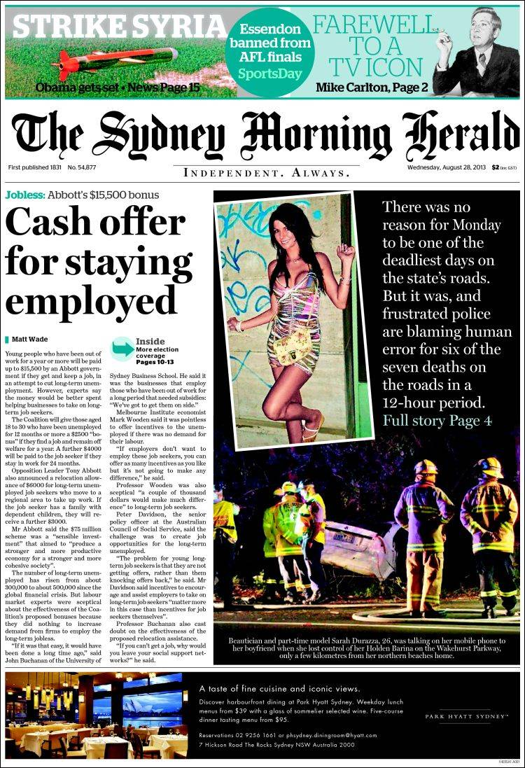 The Sydney Morning Herald - Wednesday, August 28, 2013.