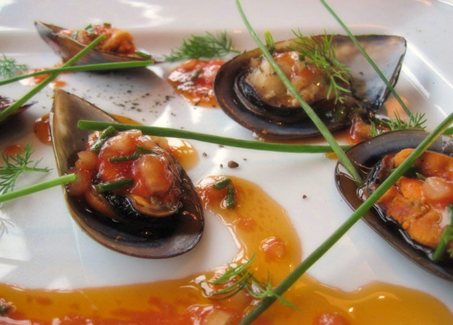 Mussels drizzled with Tomato and Tarragon Vinaigrette Photo : Nicolsons