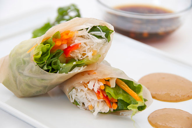 Asian Vegetable Spring Rolls with Candied Vegetables Photo : Jackie Cameron