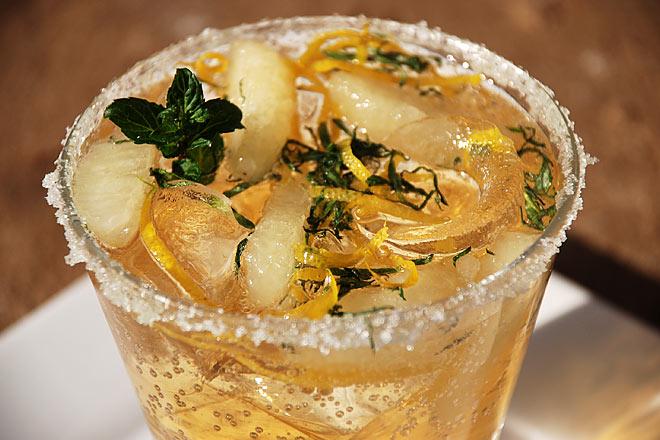 Frozen Lemon Segments with Ginger Ale, Lemon Zest and Freshly Sliced Mint  Photo : Jackie Cameron