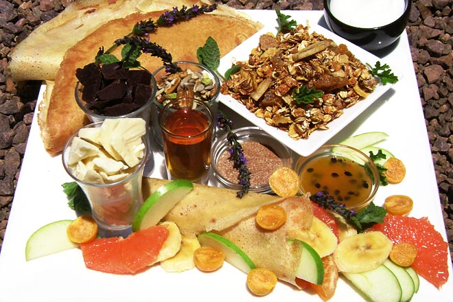 Homemade Crepes with Homemade Muesli,  Fresh Fruit and exciting extras Photo : Jackie Cameron