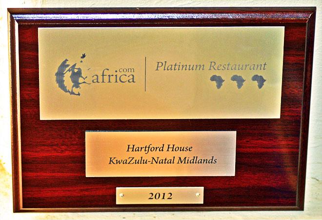Africa.com Platinum Restaurant Award /Hartford House (p)