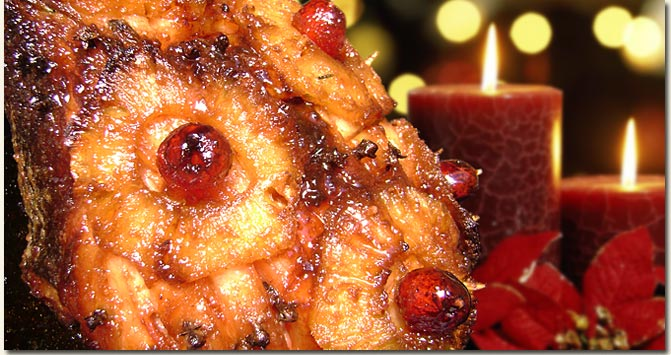 Glazed Christmas Gammon garnished with pineapple rings and cherries / Jackie Cameron (p)