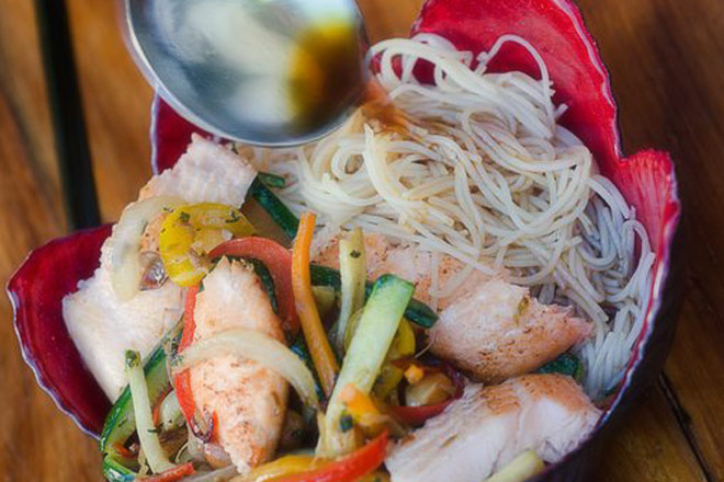 Trout Stir Fry with Chinese Rice Noodles