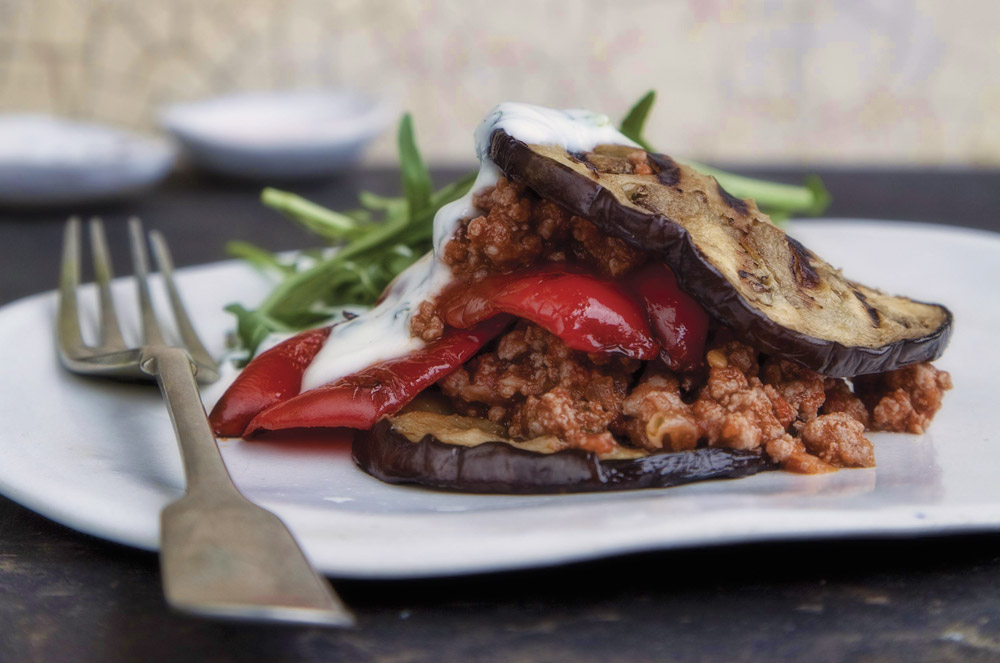 Ostrich Moussaka Stack with a Lemon Herb Yoghurt Drizzle