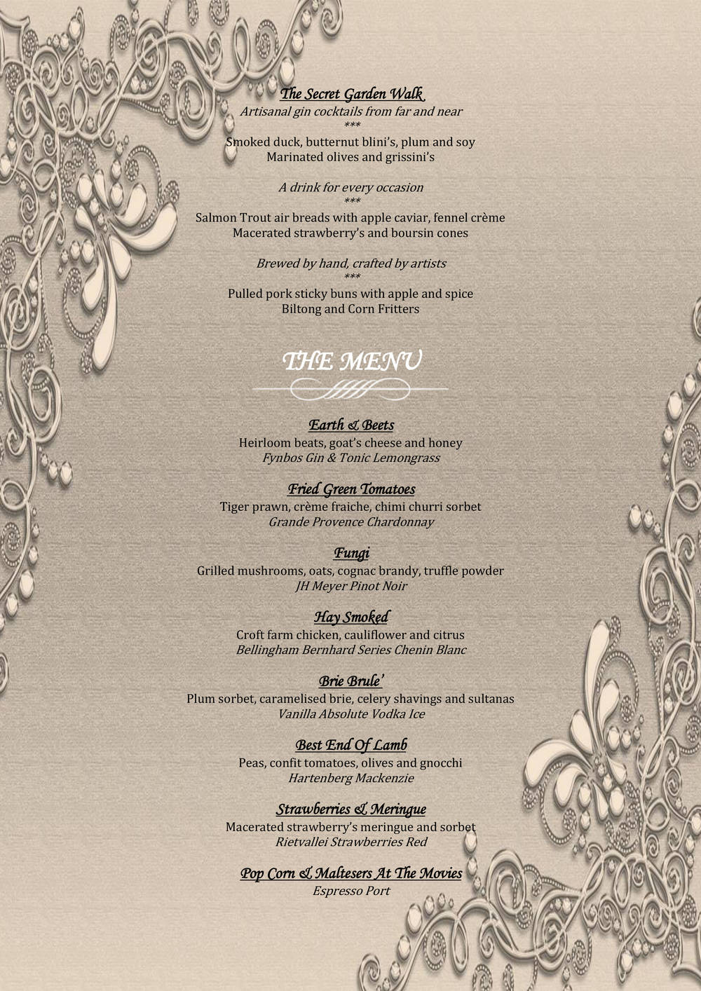 Hartford House New Year Menu