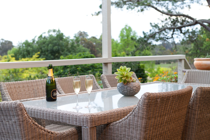 Champagne in al fresco with views over Yarra Valley