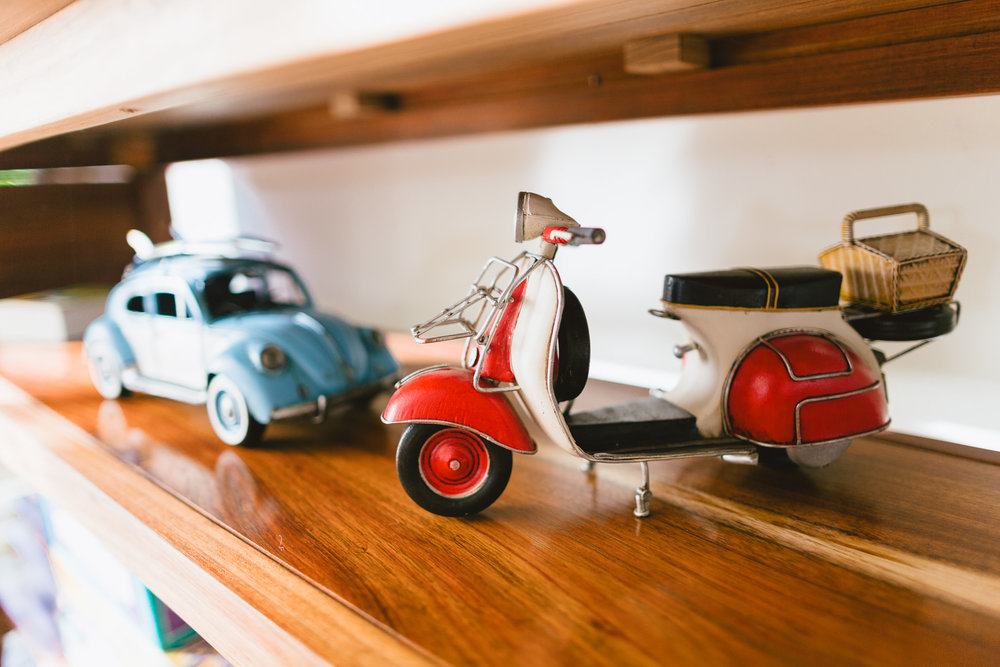 Homely interior details - model car and vespa