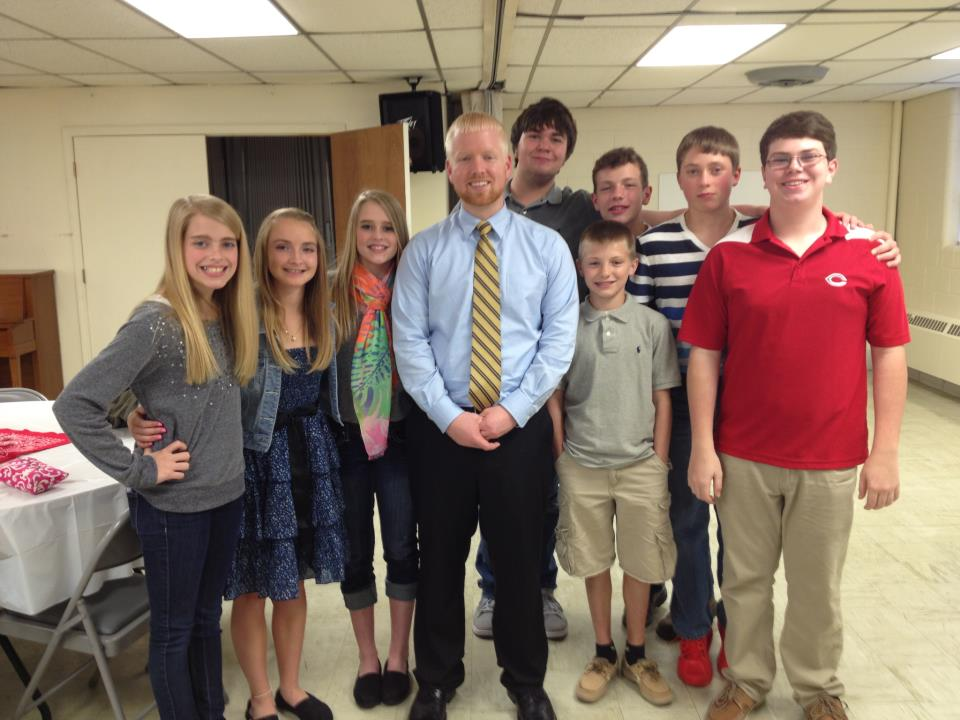 Alex Lockridge with some of his youth after his ordination at FBC Corbin