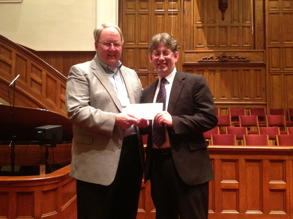 Jeff Wood (right), with David Platt, receives the 2013 KBF Scholarship award.