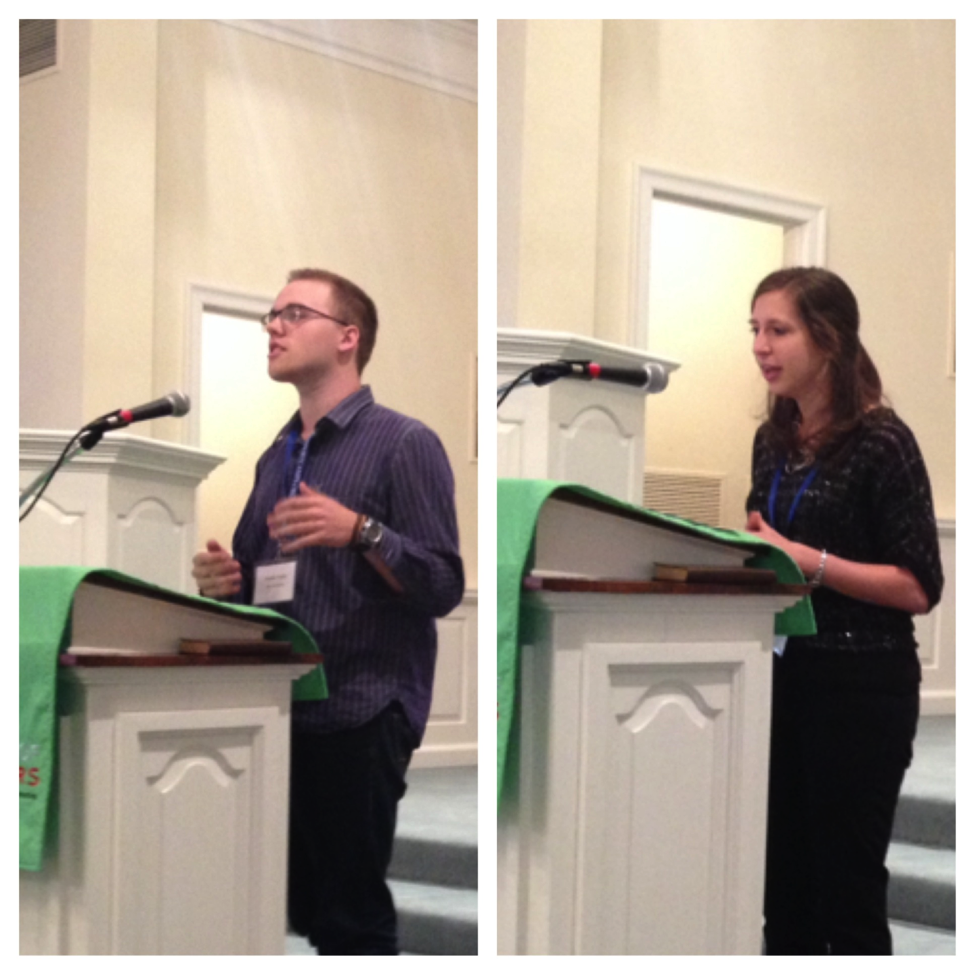 Austin Fraley and Laura Edgar proclaim the gospel at the KBF Spring Gathering Academy of Preachers Series