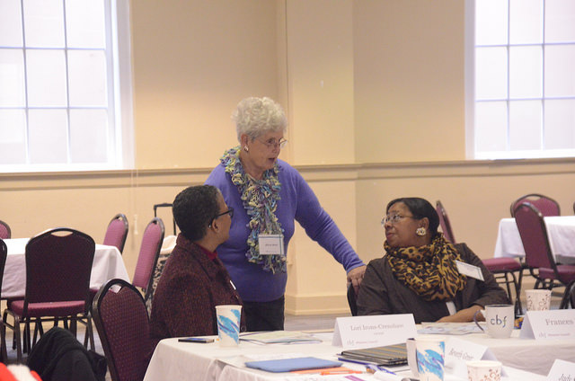 Alice Mull of Living Faith Baptist in Elizabethtown and CBF Missions Council Member talks with Lori Irons-Crenshaw, CBF Staff Member  and Frances Ford, fellow CBF Missions Council Member.
