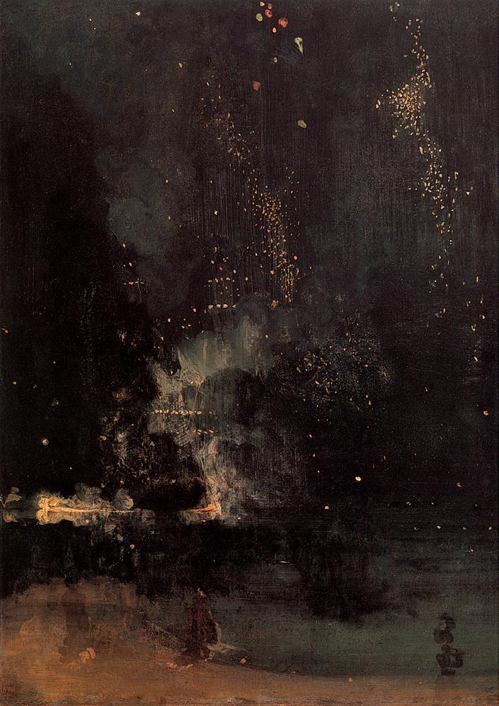 James Abbott McNeill Whistler  Nocturne in Black and Gold – The Falling Rocket , 1877  via awelltraveledwoman.tumblr.com