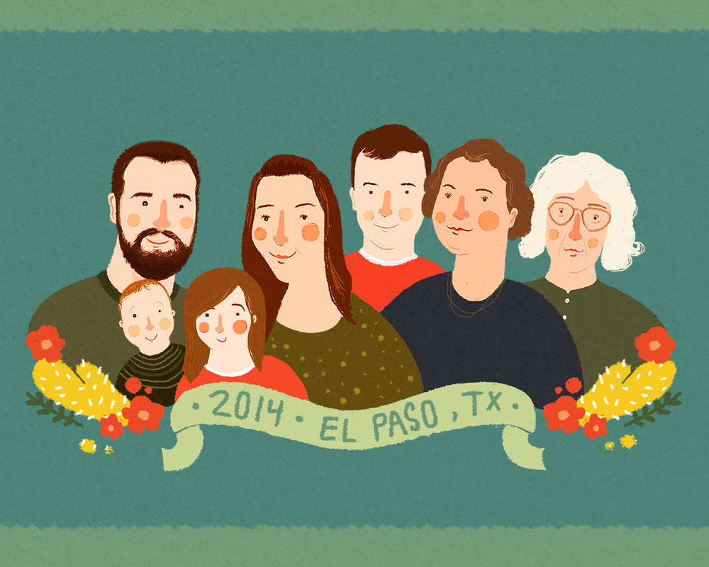Family portrait done by Hannah Bess Ross.
