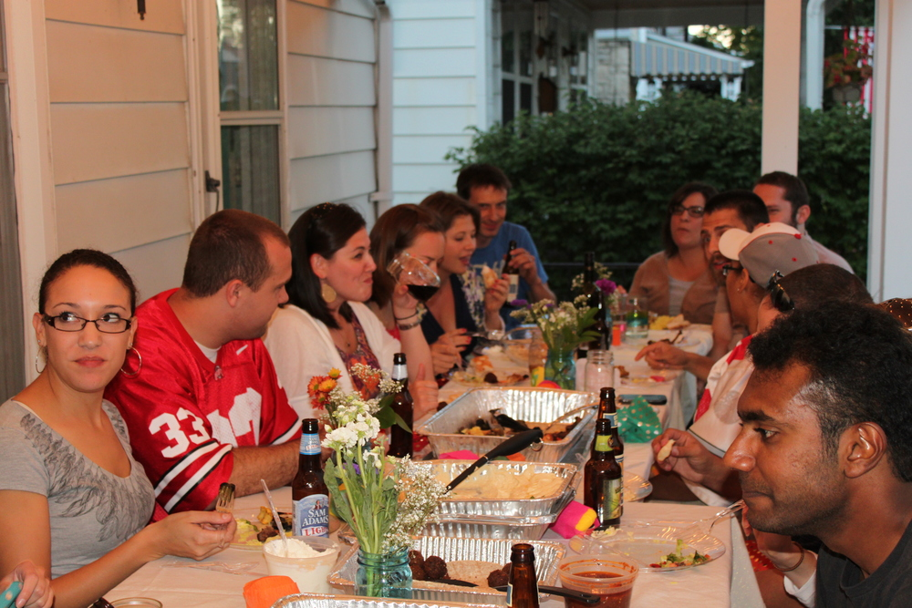 Wonderful friends eating on the porch celebrating my 30th birthday.