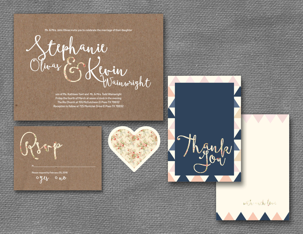 kraft paper and floral wedding invitation