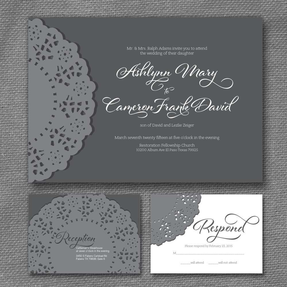 country lace doily wedding invitation