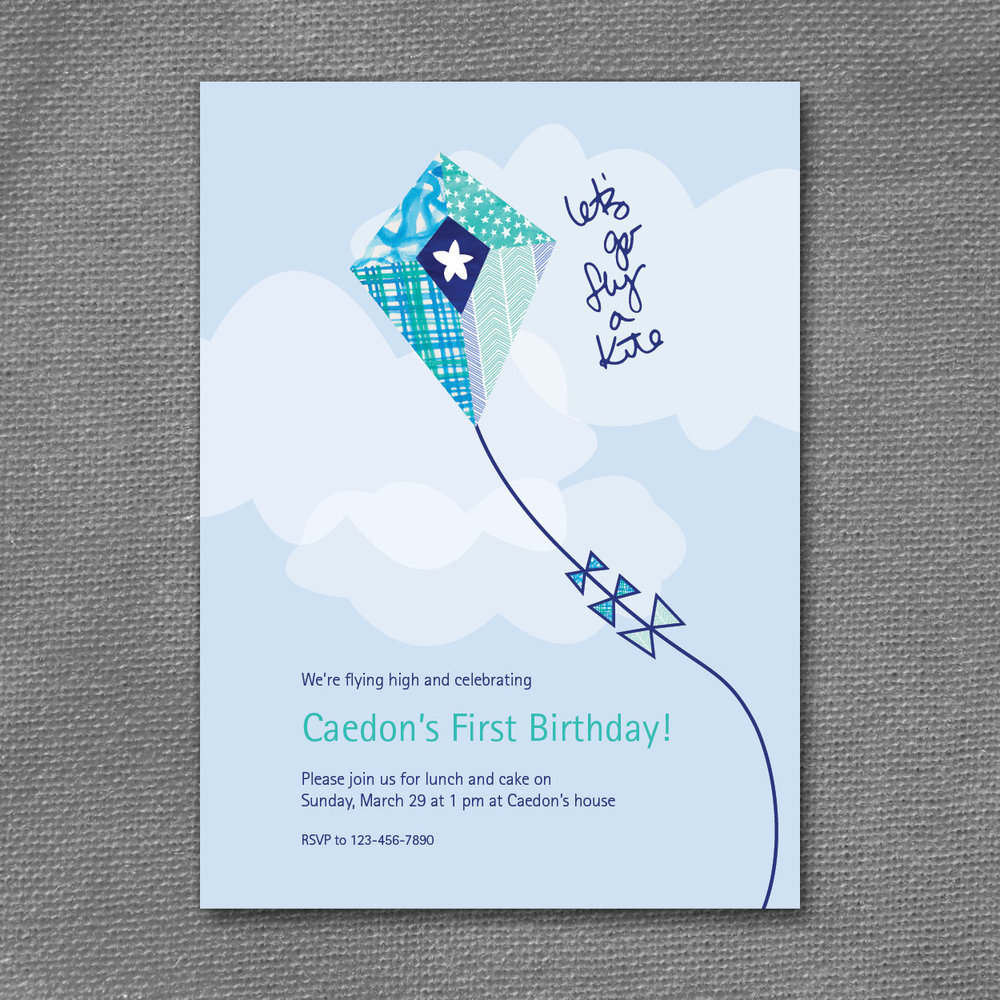 kite patterns birthday invitation