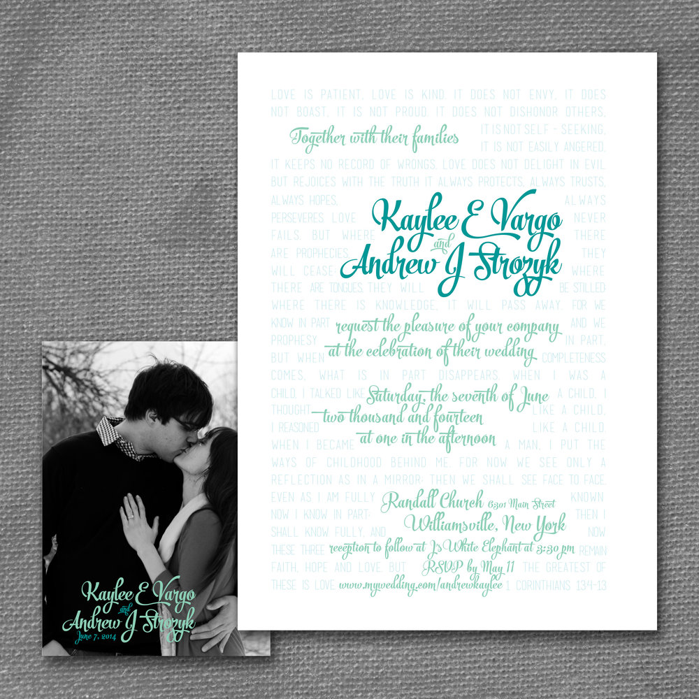 modern type wedding invitation