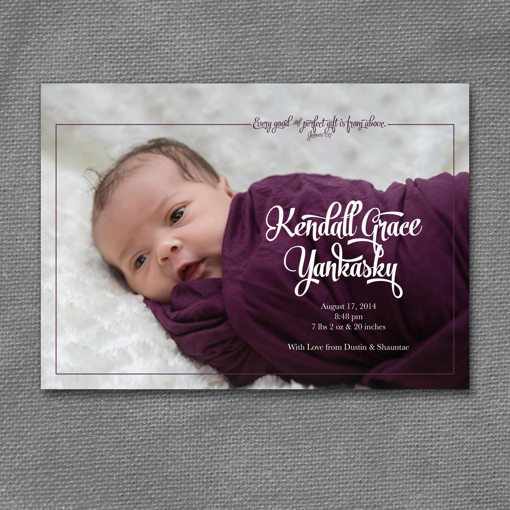modern purple baby announcement