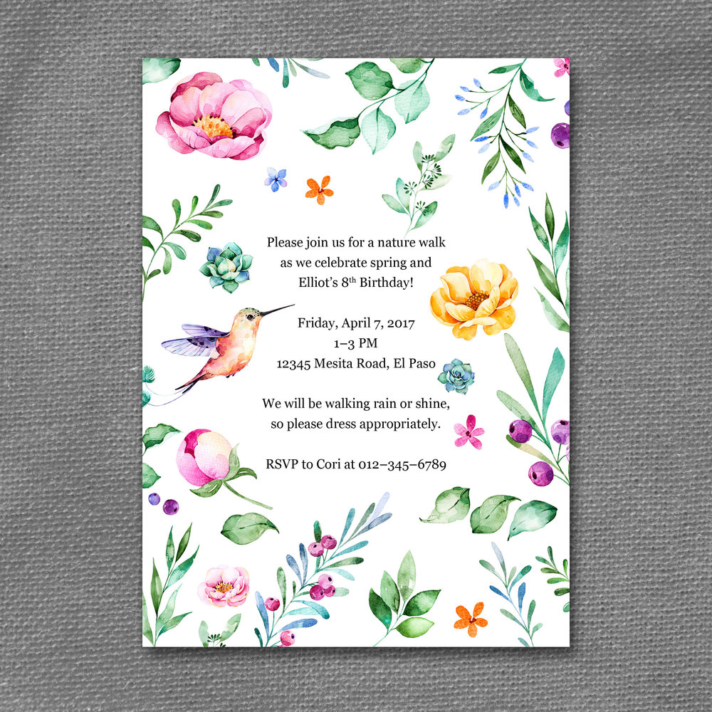 nature walk birthday watercolor invitation
