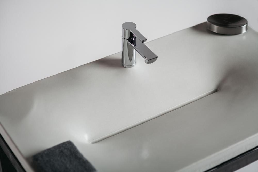 Superieur Concrete Sink In Bone White With Slot Drain.