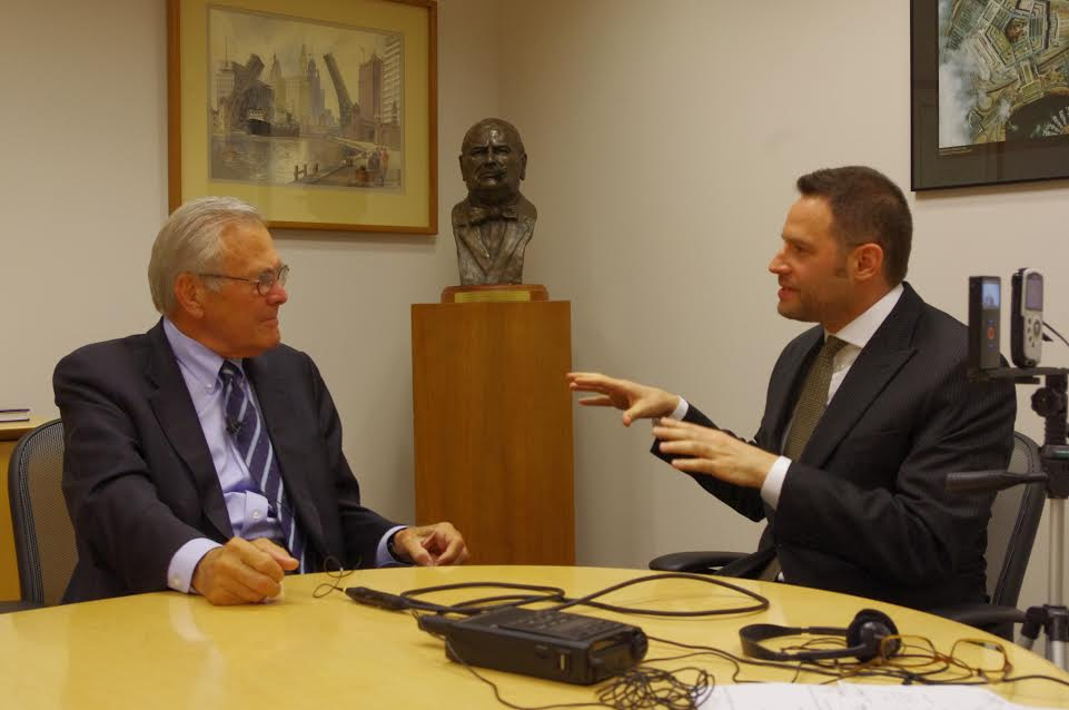Jeff  Brodsky  interviewing former US Defense Secretary Donald Rumsfeld about Rumsfeld's first campaign for Congress in 1962.