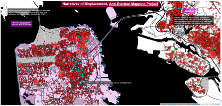 A screenshot of the Narratives of Displacement map, displaying parts of San Francisco (left) and Oakland (right)