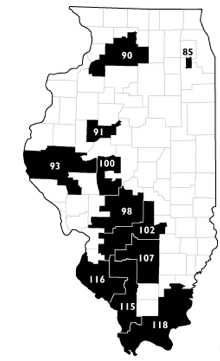 Illinois districts with the largest prison populations, concentrated in rural downstate (http://www.prisonersofthecensus.org/illinois/importing.html)