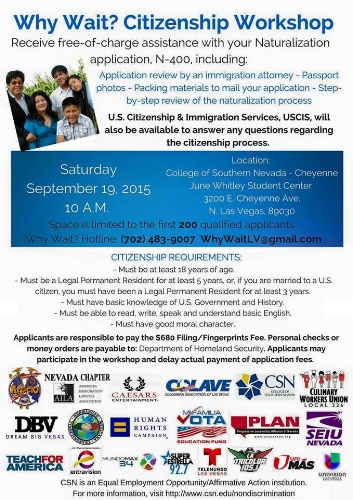 PLANevada's Citizenship Fair Flyer from September 2015. This is the fair my mom attended and where she was able to receive assistance with her N-400 application.