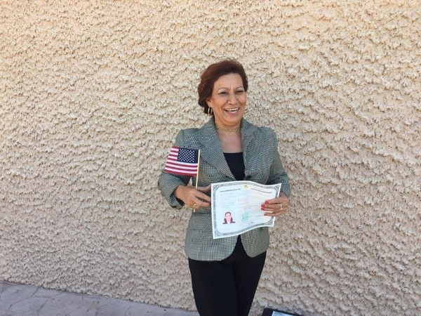 Thirty years after arriving in the United States as an undocumented immigrant, mom becomes a naturalized citizen. September, 2016.
