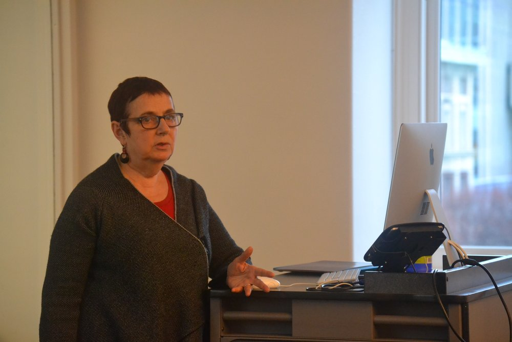Mary Marshall Clark teaching prospective OHMA students and emerging oral historians at the recent One-Day Oral History Training Workshops at Columbia University. Photo credit: Emma Courtland.