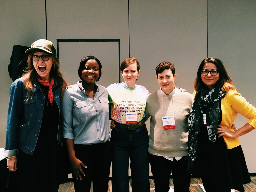 "From left to right: Jess Lamar Reece Holler, Kimber Thomas, Danielle Dulken, Rachel Gelfand and Fanny García after their workshop, ""Orality, Affective Power, and Activism: Making Oral History Art"" at the 2017 Oral History Association Annual Meeting in Minneapolis, Minnesota."